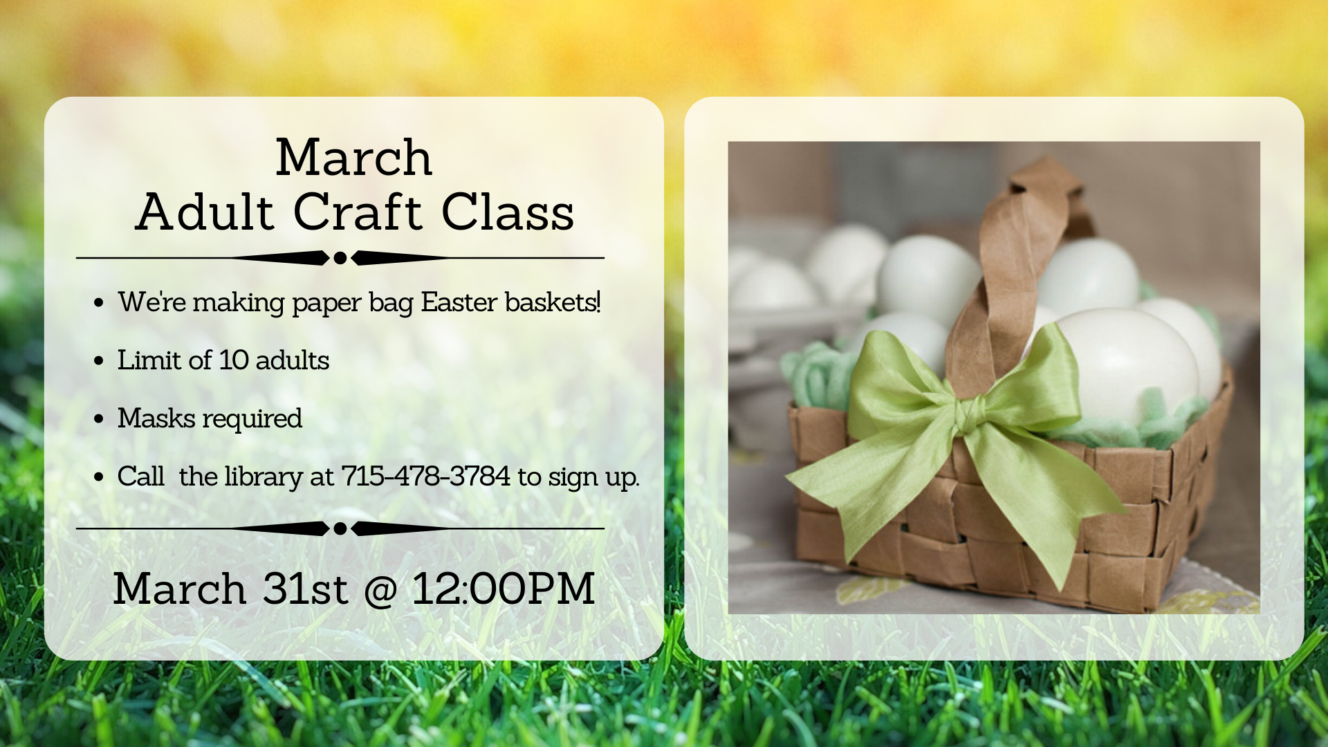 March 31st 2021 Adult Craft Class